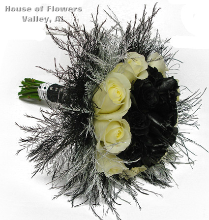 Prom flowers january 2012 black and white rose bouquet for prom from house of flowers mightylinksfo