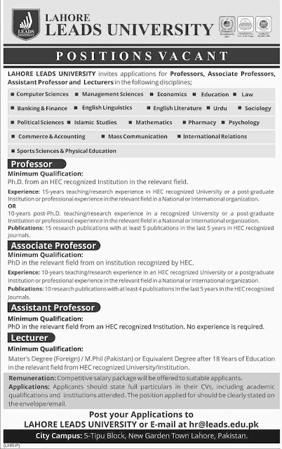 Teaching Jobs at Lahore Leads University