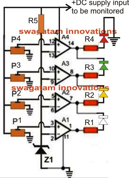 4 Step Battery Charging Indicator Circuit