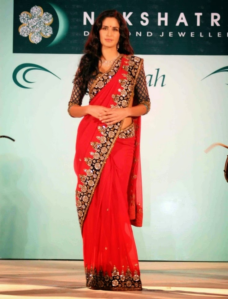 Check Out Katrina Kaif in Designer Red Saree