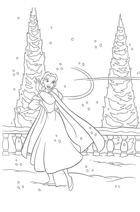 صورة الأميرة بين الثلوج تقاوم العواصف لتلوين الاطفال