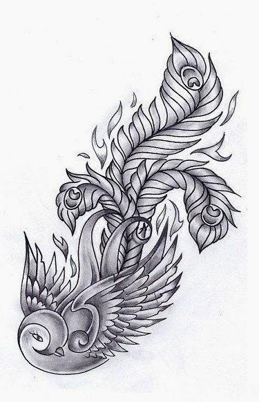 Bird with big feathers tail tattoo stencil