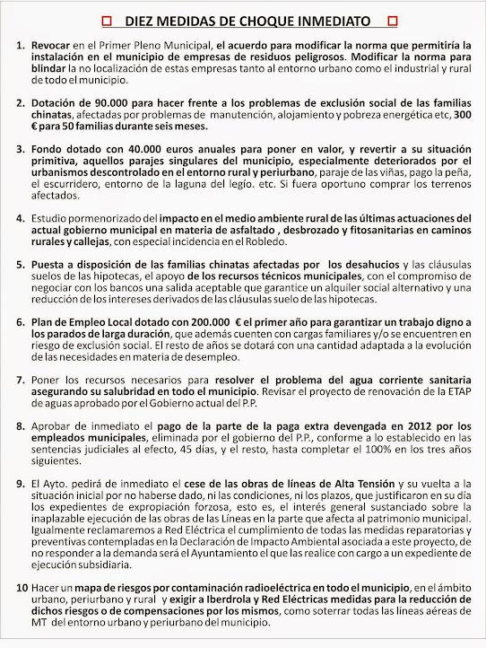 ACCIONES URGENTES PARA EL MUNICIPIO