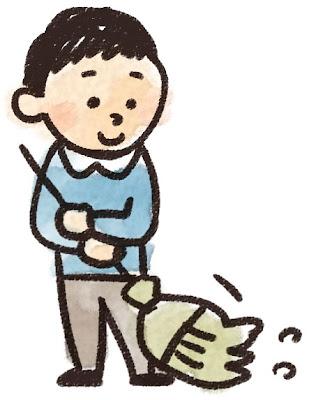 掃除をしている男の子のイラスト