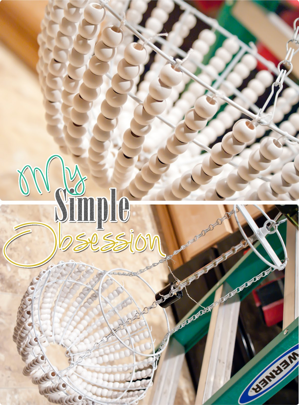 My simple obsession beaded chandelier tutorial i tied my string to the bottom first and then made a cut with the estimated guess in length the bottom took 15 of the 16mm beads per strand and mozeypictures Images