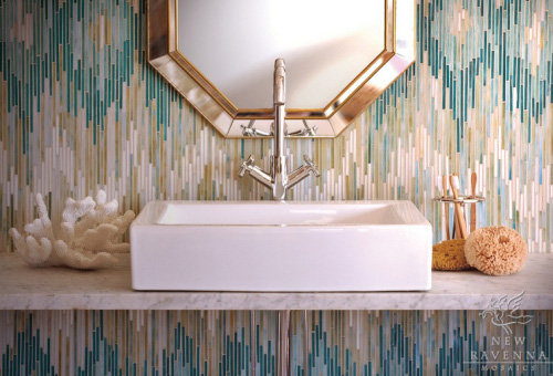 ikat patterned wall tiles
