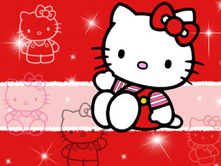 Hello Kitty kartun warna merah