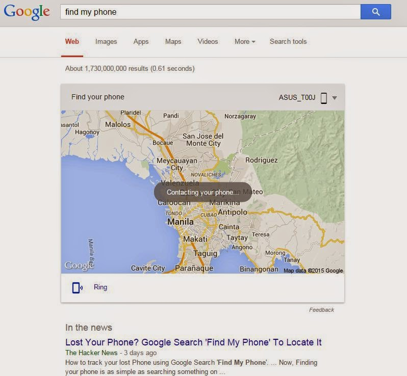 Easy access to Google's Find My Phone Feature - Geeky Juan