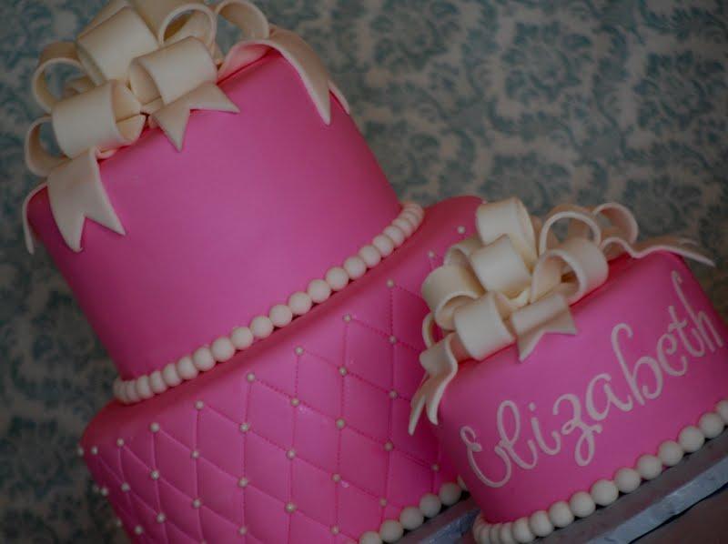 CakeFilley: Elegant Pink 1st Birthday Cake
