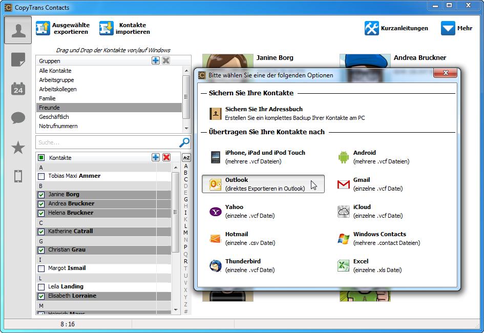 Outlook iphone kontakte übertragen