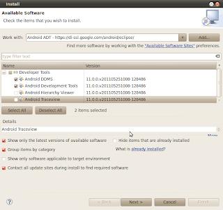 Imagen de los paquetes para instalar Android en Eclipse Indigo