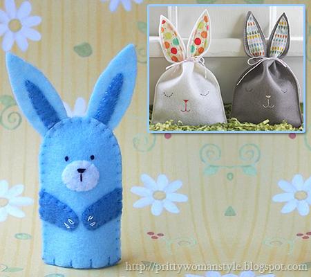 Кошничка Зайче и Зайчета торбички от филц