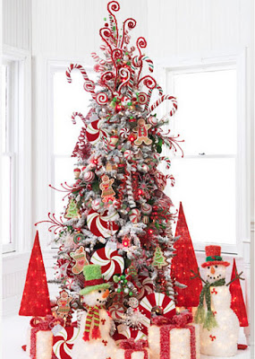 Peppermint ornaments candy cane christmas tree decor theme idea tree decoration easy craft diy red white peppermint centerpiece color combination
