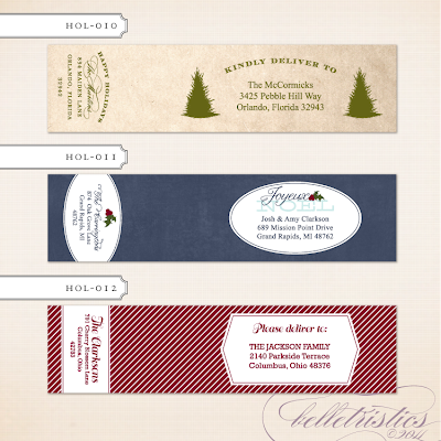 printable diy print your own wrap around holiday christmas holiday address label return address