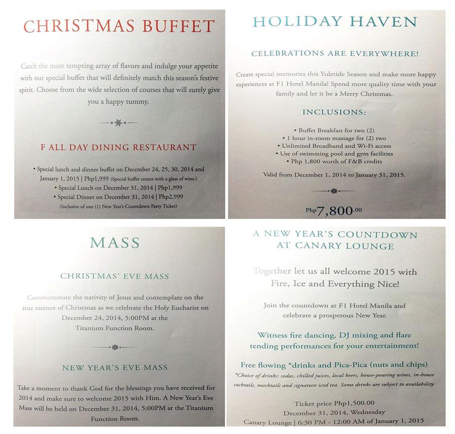 F1 Hotel Manila's Christmas Buffet
