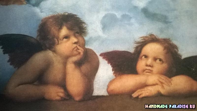 Вышивка ангелов. Схема фрагмента Сикстинской мадонны Рафаэля (2)