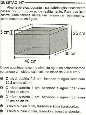 Exercício Resolvido Enem 2012 - Questão 147 (caderno amarelo - 2º dia)