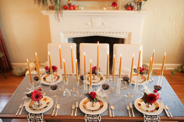 creative thanksgiving centerpiece, simple centerpiece, candle centerpiece