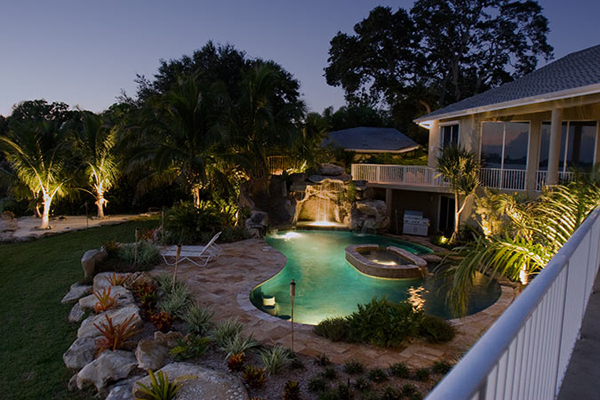Landscape lighting techniques luxury lifestyle design landscape lighting adds a unique look to your house in the night when its dark and only lights illuminate the exterior at the angles you set them aloadofball Choice Image