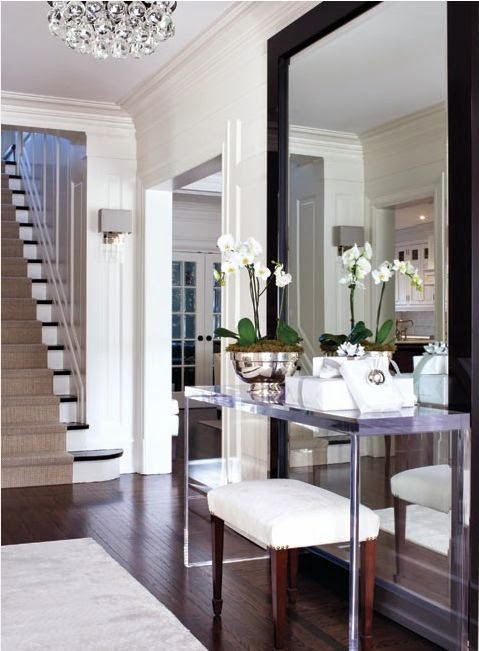 foyer mirror, large foyer mirror, lucite table and mirror