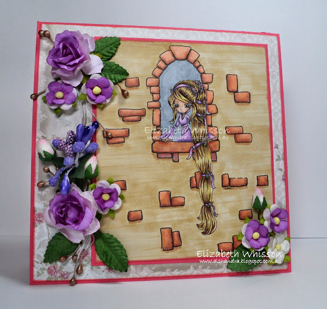 Elizabeth Whisson, Copics, Tiddly Inks, Rapunzel in Window, flowers, tower, Live and Love Crafts, AnnaBelle Stamps, Shabby Rose Paper Collection, Copic Sketch, handmade card