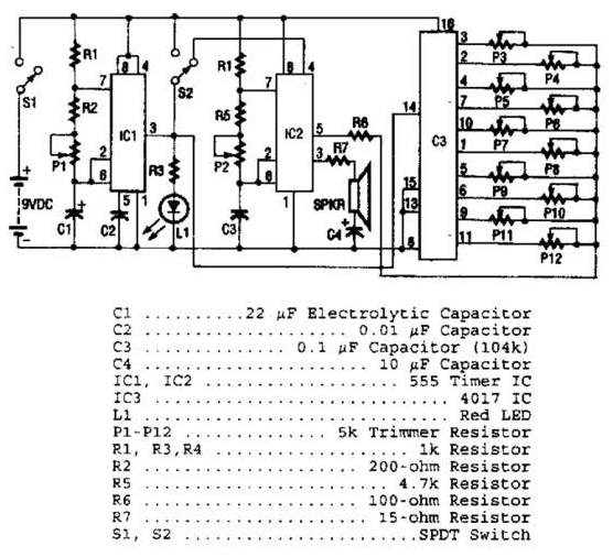 ic 555 based 10 note sound synthesizer circuit diagram