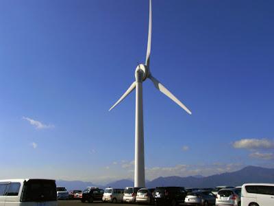 会場敷地内にある風力発電の風車