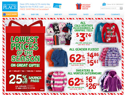 Click to view this landing page for a Dec. 13, 2011 The Children's Place email full-sized