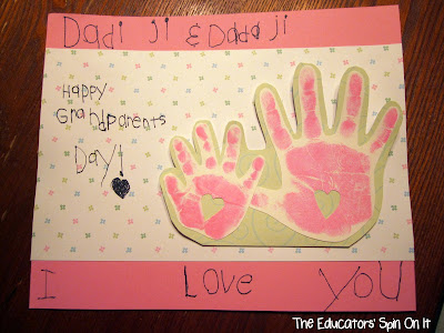Grandparents Day Gift Idea with  Handprint Card from The Educators' Spin On it