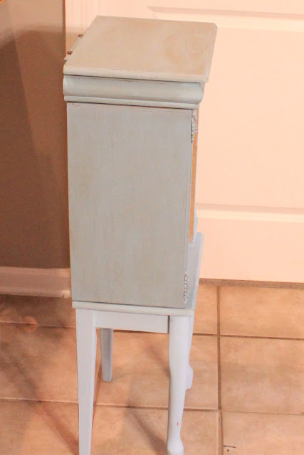oak jewlery armoire, CeCe Caldwells Chalk Paint, Memphis Blue