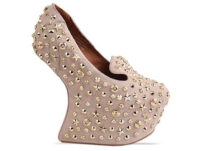 Jeffrey Campbell Blyke Stud in nude suede / gold