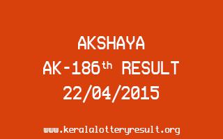 Akshaya AK 186 Lottery Result 22-4-2015