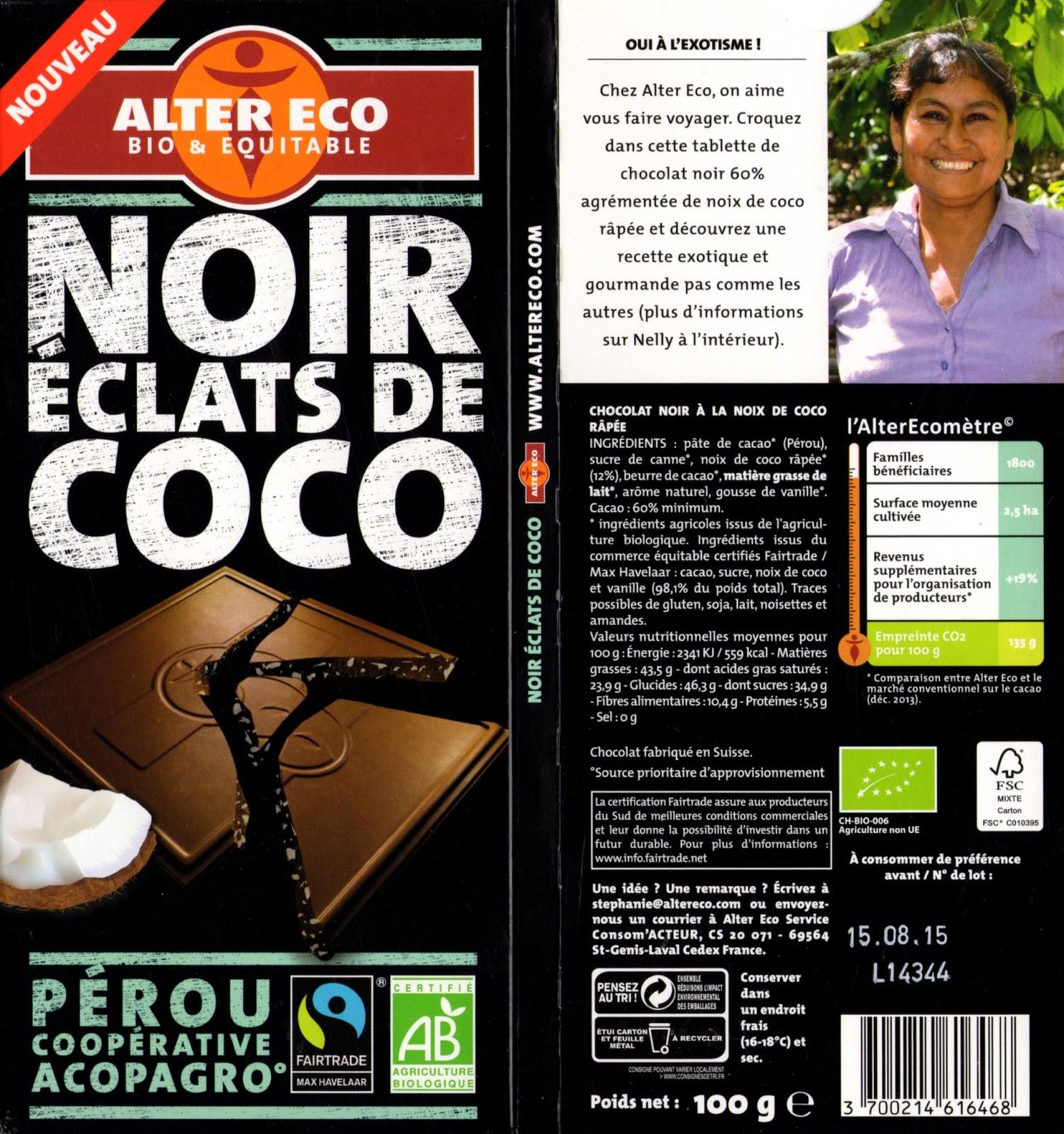 tablette de chocolat noir gourmand alter eco pérou noir eclats de coco