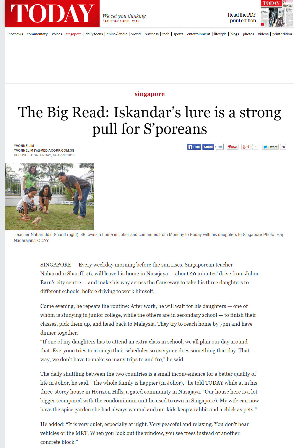 Malaysia Iskandar 040415 -  Iskander's lure is a strong pull for S'poreans