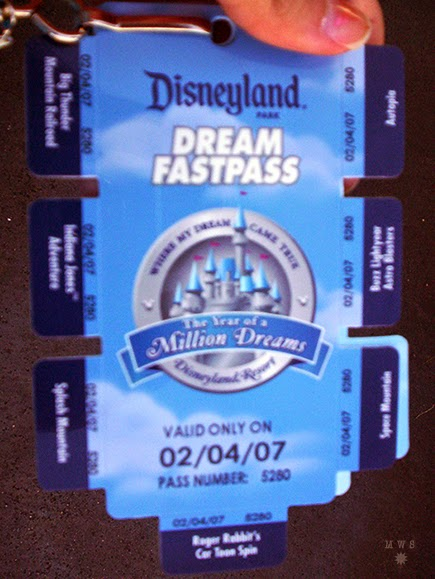 Close up of the Disneyland Dream Fastpass