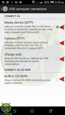 USB Computer Connection Menue - USB Modes - Yes Android