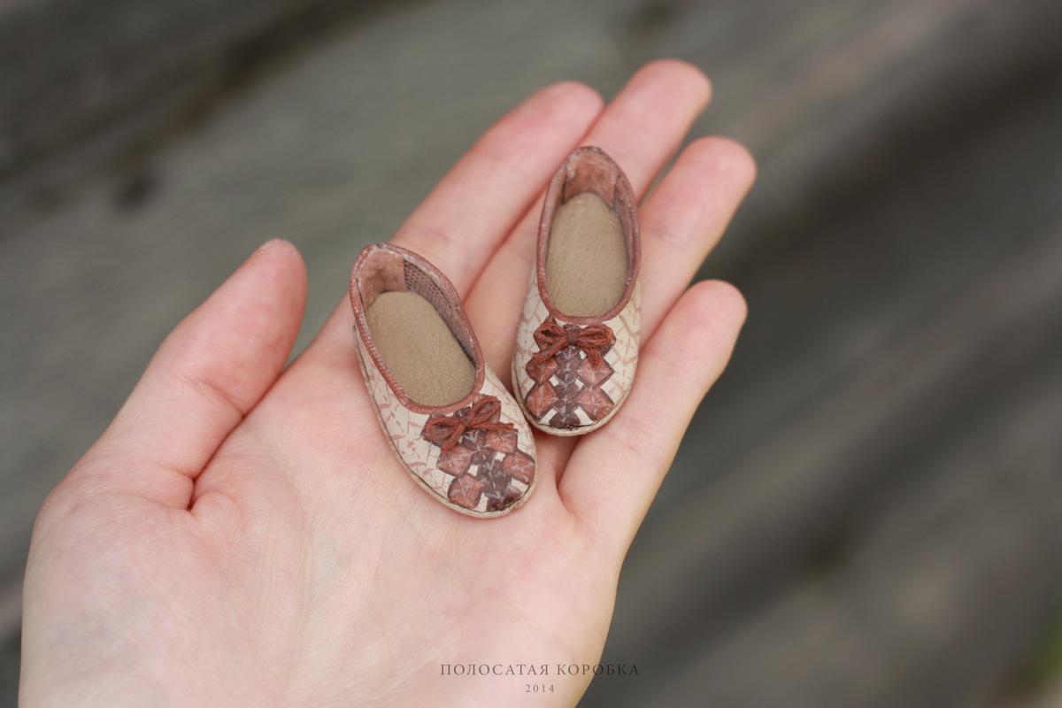 Миниатюрные туфельки для куклы