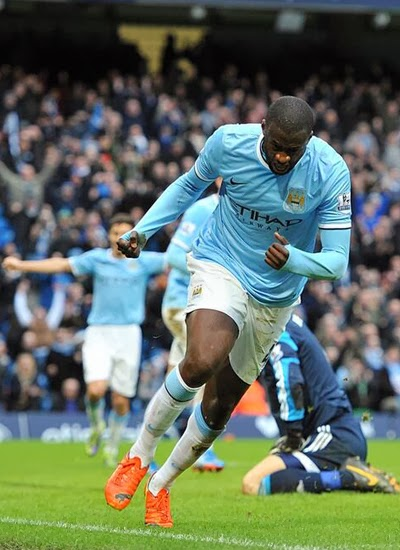 Yaya Toure Manchester City vs Stoke City Premier League 2014