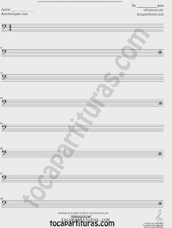 Partituras  de Pentagramas en Blanco en Clave de Fa en 4º línea. Hojas pentagramadas, pentagramas sin compases, vacíos en clave de fa (in bass clef blank sheet music)