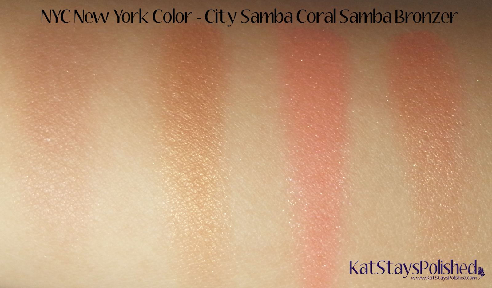 NYC New York Color - City Samba Sun 'n' Bronze - Coral Samba Bronzer Swatches | Kat Stays Polished