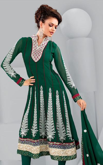 Green-Churidar-Frock-Fashion