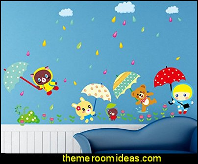 Kids Animals Playing in the Rain Wall Art Decals Decor Removable Sticker for Children's Room Nursery