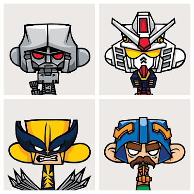 Mad*l Characters Print Series Batch 4 by MAD - Transformers' Megatron, Gundam, Marvel's Wolverine & Masters of the Universe's Man-At-Arms