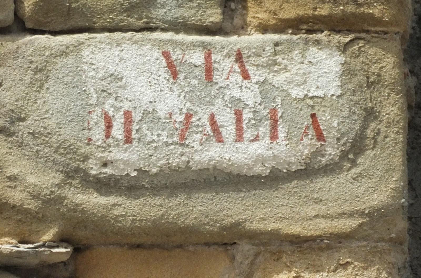 Ancient Via di Valla street sign