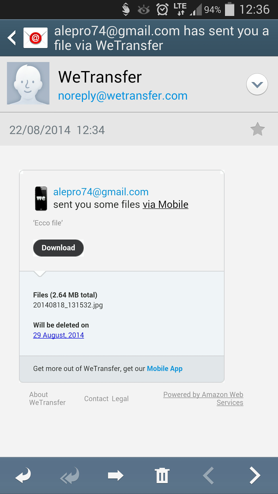how to download wetransfer files on android