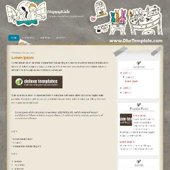HappyKids blogger template. template for kid blog