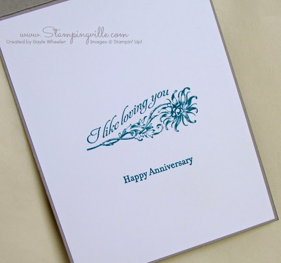 Custom anniversary greeting inside card | Stampingville #cardmaking #rubberstamping #StampinUp