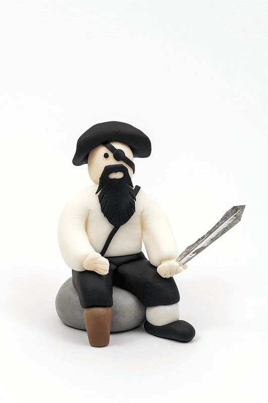 Captian hook blackbeard from fondant close up