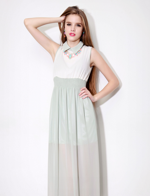 Rea Mint Chiffon Maxi Dress