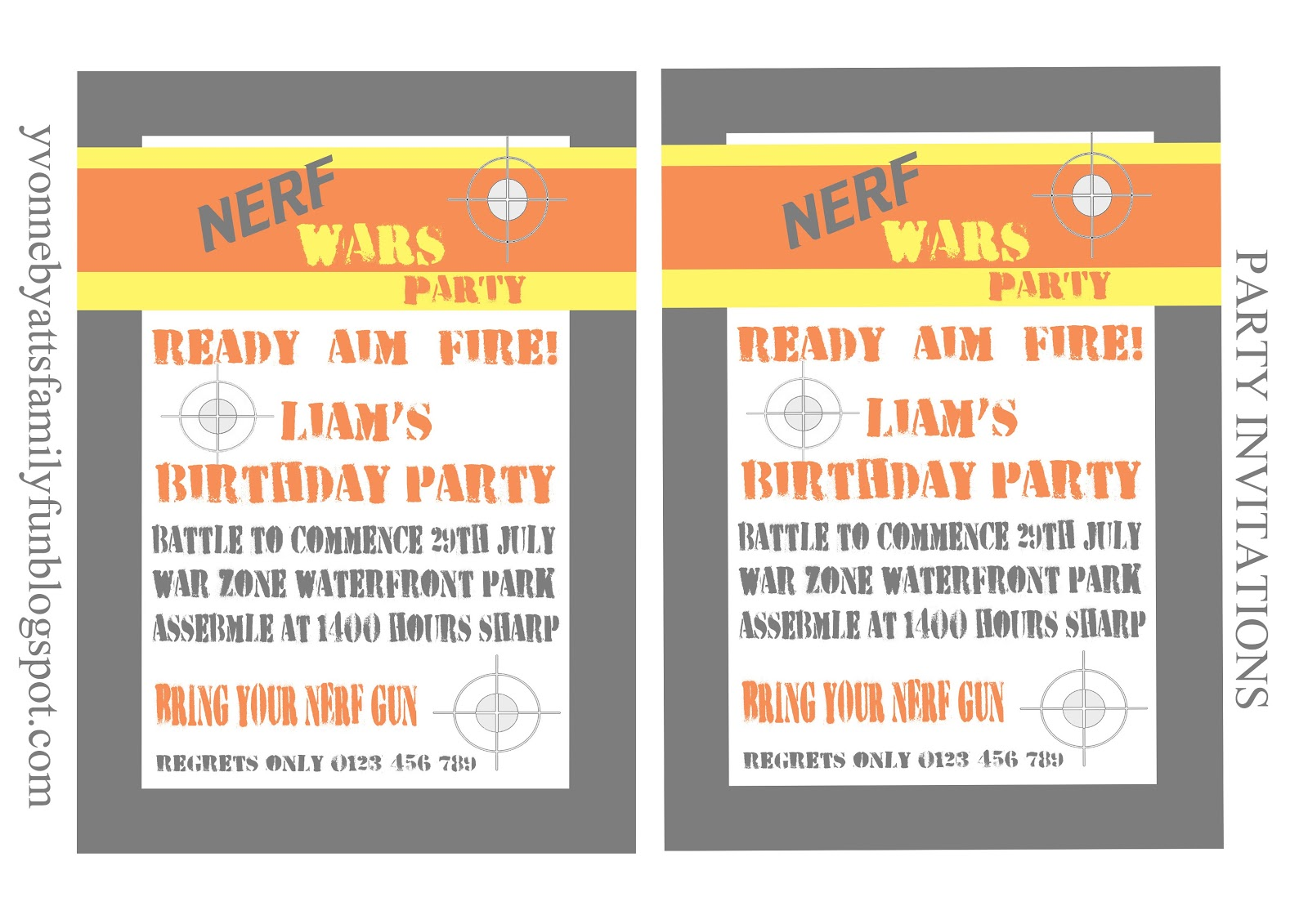 Free Printable Nerf Birthday Invitations ~ Nerf party printables disney cars
